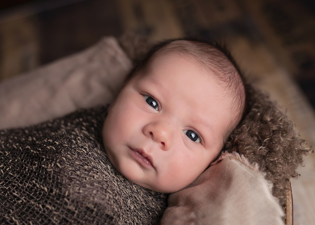 A close up of a baby